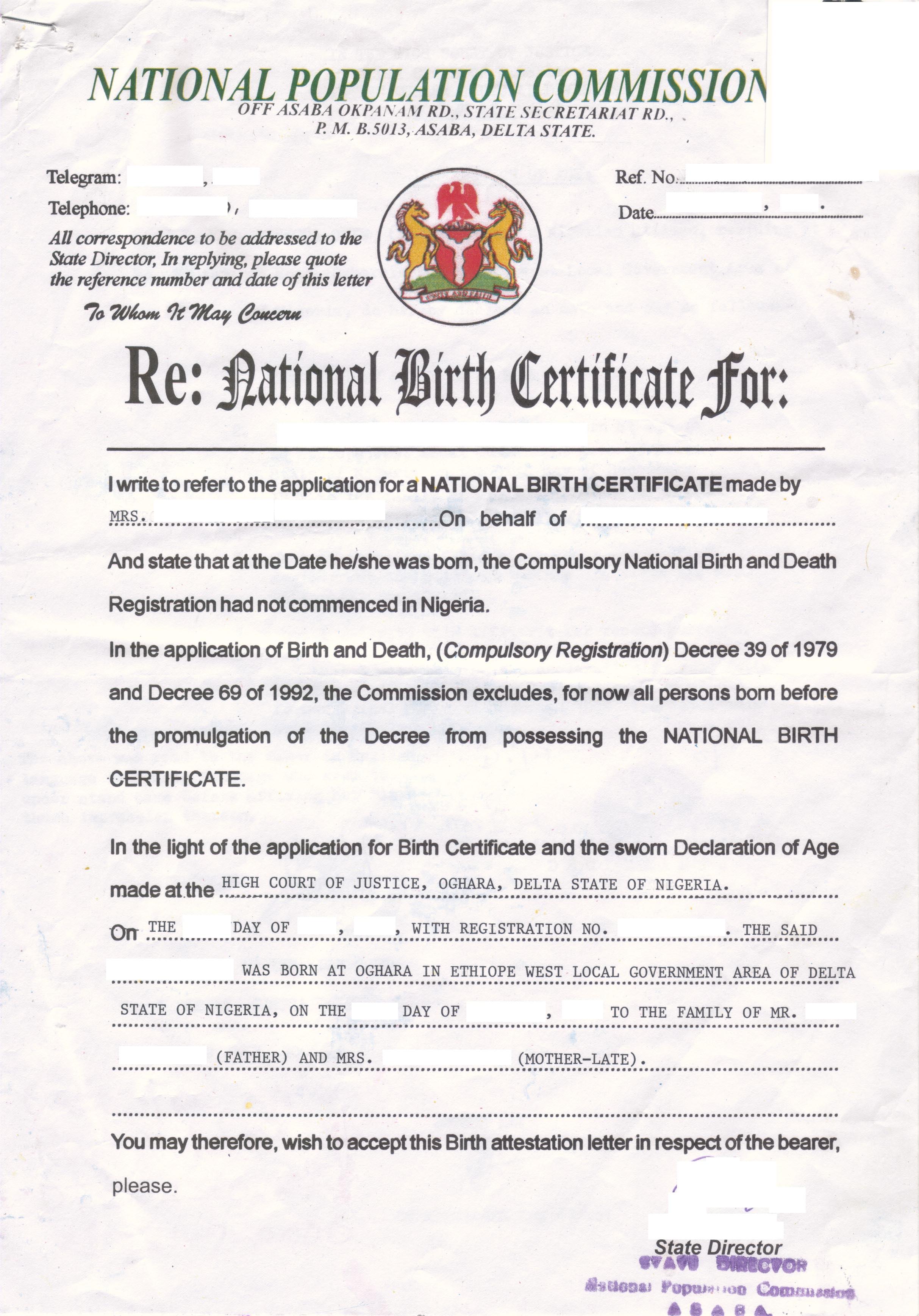 Birth Attestation Letter Nigeria Beglaubigte Ubersetzungen
