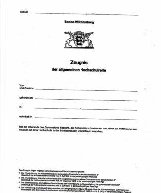 Abiturzeugnis Ba-WÜ - Seite 1