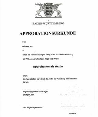 Approbationsurkunde Baden-Württemberg - 1 Seite