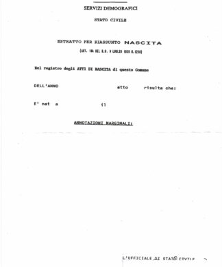 Certificato di nascita - Geburtsurkunde - 1 Seite