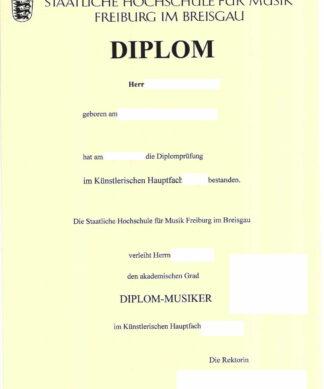 Diplom Musikhochschule Freiburg - 1 Seite