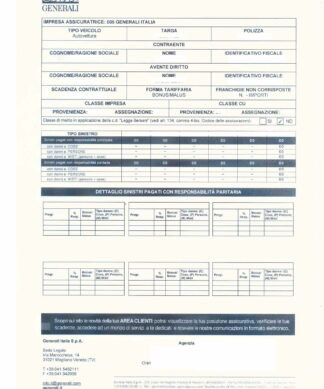 attestato di rischio - Bescheinigung Schadenverlauf - 1 Seite